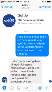 SellUp im Kundenchat